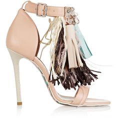 MSGM Embellished leather sandals (8466185 BYR) ❤ liked on Polyvore featuring shoes, sandals, heels, обувь, neutral, fringe high heel sandals, fringe heel sandals, strappy sandals, leather strappy sandals and high heel shoes