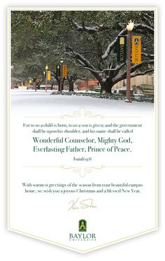 Merry Christmas from #Baylor University and President Ken Starr!