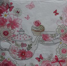 2 Kitchen Napkins, Kitchen Theme Napkin, Teapot Napkin, Pink Floral Napkin, Decoupage Napkin, Collage Napkin, Lunch Napkins (PINK TEAPOT) by GraceslacesPL on Etsy