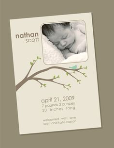 Items similar to Spring Branches - Birth Announcement on Etsy Handmade Invitations, Baptism Invitations, Invitation Cards, Spring Branch, Baby Announcements, Branches, Birth, Events, Etsy