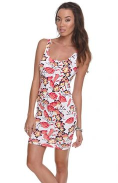 Women's #Fashion #Clothing:  Hurley Sofie #Floral #Tank #Dress in #White with Yellow, Pink, Red, Blue Flower and Leaf Print Pattern