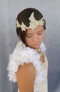 Enchanted Evening Headband: Art deco silver german glitter moon and stars