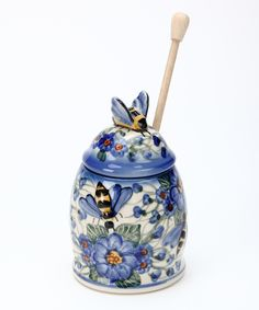 Bee Honey Pot - lovely blue flower pattern on this