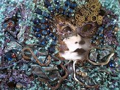 Lady Blue Created by Petra Prückler. Petra, Steampunk, Wreaths, Halloween, Lady, Blue, Home Decor, Decoration Home, Door Wreaths