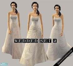 New set of wedding gowns. Enjoy :)  Found in TSR Category 'Sims 2 Clothing Sets'
