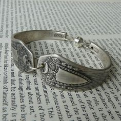 Antique Silver Spoon Bracelet  Heraldic 1916 by Revisions on Etsy
