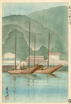 """Boats in the Rain""  by Oda Hironobu, 1930   (published by Maeba)"" Interesting history with editions of 500 but few works to be found - Has been copied (the artist not necessarily this print)"
