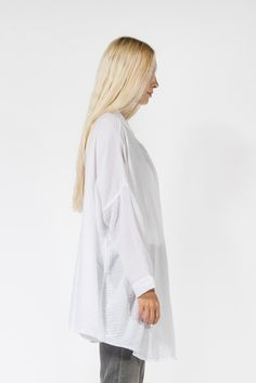 Square L/S Shirt, White #blackcrane