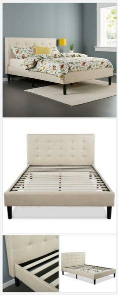 Taupe Beige Upholstered Platform Bed Frame with Headboard Belladonna Home Decor http://belladonnahomedecor.storenvy.com/products/15976203-taupe-beige-upholstered-platform-bed-frame-with-headboard  (Pinned using https://PromotePictures.com)