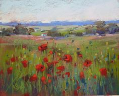 Original Pastel Painting Poppy Meadow in FRANCE Landscape by Karen Margulis psa Art Painting Gallery, Artist Gallery, Fine Art Gallery, Your Paintings, Landscape Paintings, Landscapes, France Landscape, Contemporary Artists, Contemporary Landscape
