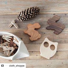 @cloth_shoppe sure knows how to display our wooden rattles! Easter is around the corner - be sure to pick up a couple bunny rattles for those upcoming baby showers!