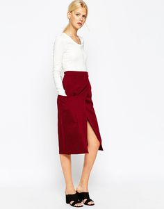 ASOS Premium A-Line Wrap Skirt with Pocket Detail Co-ord