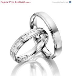 Matching Wedding Bands His and Hers With Diamonds Around The Band