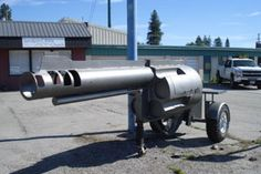 Only in America would a 15-foot bbq grill in the shape of a giant magnum revolver with car wheels on it actually exist.  Amateur high school welding students Stefan Harlicker, Mark Ramsay, Garret Belgarde, Dylan Decrow and Kanyen Bauer of Idaho's Sandpoint High School created this NRA friendly piece in a school years time.