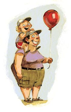Watercolor/digital illustration of an intensely happy mother and son.
