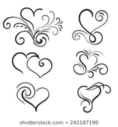 Find Hand Drawn Vector Swirl Heart Elements stock images in HD and millions of other royalty-free stock photos, illustrations and vectors in the Shutterstock collection. Thousands of new, high-quality pictures added every day. Wood Burning Crafts, Wood Burning Patterns, Coeur Tattoo, Jolie Nail Art, Swirl Tattoo, Herz Tattoo, Hand Lettering Alphabet, Heart Tattoo Designs, Heart Art