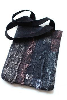 by Marina Shkolnik     - Nuno Felted Bag    Australian merino wool, ponge silk fabric, magnet snap, recycled suede.