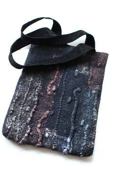 by Marina Shkolnik     - Nuno Felted Bag    Australian merino wool, ponge silk fabric, magnet snap, recycled suede.
