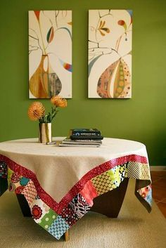 I used a lot of fabric scraps for this patchwork table cloth especially for our birthday table. It will just be used on four days a year but will always be something special. Sewing Crafts, Sewing Projects, Boho Home, Birthday Table, Quilted Table Runners, Round Tablecloth, Patch Quilt, Deco Table, Mug Rugs