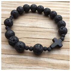 Men's Black Lava Beaded Stretch Rosary Bracelet/ Men's Black Rosary Bracelet