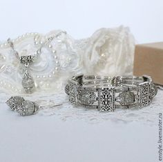 """Купить Тибетский комплект """"Дымка"""" - серый, серебро, тибетское серебро, серебро 925 пробы, карц"""