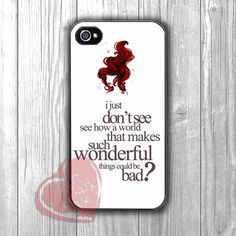 Ariel Mermaid quote with illustration -sar for iPhone 4/4S/5/5S/5C/6/ 6+,samsung S3/S4/S5,samsung note 3/4