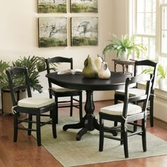 Black casual dining set.  Clean lines.