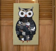 Large Owl #4 Fabric Wall Art by CottonwoodCove on Etsy