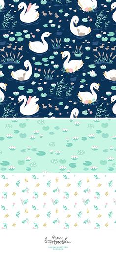 Swan Princess - surface pattern design mini-collection for girls. Swans on a navy background and some floral.