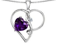 14k White Gold Plated 925 Sterling Silver 1.25 Inch 10mm Heart Shaped Lab Created Amethyst and Genuine Diamond Pendant,$99.99