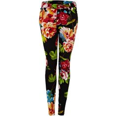 Motel Floral print trousers (94 BRL) ❤ liked on Polyvore featuring pants, black, jeans, leggings, women, floral printed pants, print pants, flower print pants, floral trousers and floral print pants