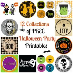12 Full Collections of free Halloween Party Printables available at CatchMyParty.com!