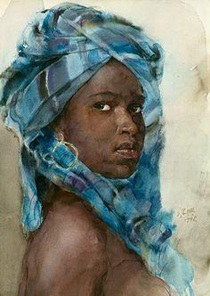 """Pearl of Africa"" - Guan Weixing (China, b. 1940), watercolor, 1998 {figurative art beautiful female headdress black woman face portrait painting #loveart} guanweixing.com"