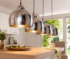 Hängelampe im trendigen Design, Aluminium, silber, Durchmesser 25 cm - Hier…