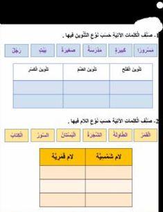 ورقة عمل الفاقد التعليمي رقم 7 Language Arabic Grade Level الصف الثاني الابتدائي School Subject اللغة Online Workouts Online Activities High School Seniors