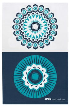 Darjeeling Tea Towel- Indigo: Hand screened onto crisp linen union, this tea towel coordinates with other designs in the Buddha of Suburbia collection. If your allergic to doing the dishes you could always pop it in a frame!  It coordinates with the Darjeeling Indigo bone china mug.  Screen printed onto linen union.  Made in the UK by nice people.
