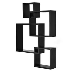 Giantex 3 Cube Intersecting Floating Shelves Square Wall Mounted Shelves Wood Home Furniture Accent Decorative Wall Shelf, Black Square Floating Shelves, Floating Wall, Wall Shelf Decor, Wall Mounted Shelves, Home Decor Furniture, Accent Furniture, House In The Woods, Cube, Black
