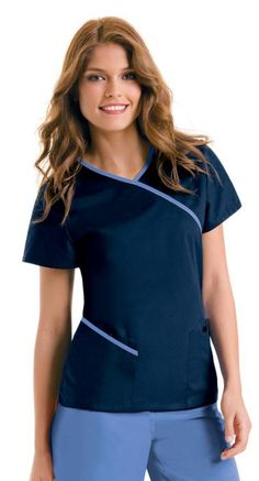 Urbane 9568 Contrast Wrap Around Tunic Scrubs Outfit, Scrubs Uniform, Spa Uniform, Scrub Suit Design, Stylish Scrubs, Cute Scrubs, Uniform Design, Medical Scrubs, Nursing Clothes