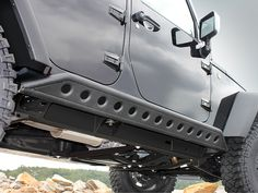jeep wrangler unlimited black powder coated tube step up rails