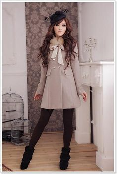 Super sweet and pretty good the camel-type double-breasted wool worsted real rabbit fur coat rabbit fur collar removable true