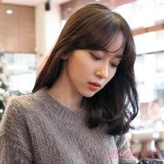 See Through Bangs Korean Hairstyle Short Shoulder LengthKorean