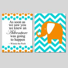 Set of Two 8x10 Prints - Winnie The Pooh Adventure Quote and Chevron Elephant - Choose Your Colors - Modern Nursery Art. $39.50, via Etsy.