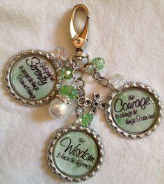 Green SERENITY PRAYER bottlecap purse bling by KeyChainBling, $20.00