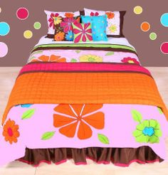 "Valley of Flowers Pink Multicolor Full/queen Comforter Set by Bacati. $109.99. multicolor Full/Queen Comforter set. ""Add a Splash of Color to Your Room with this 3 pc. Comforter Set  Includes 1 full/qn comforter, 2 Shams  100% Cotton, Machine Wash Cold with Like Colors  Polyester Fill  Woven, Cotton  Chocolate brown with bright Floral Pattern with applique and embroidery  Features Appliquéd Design, Embroidered Details  Available in Twin Size as well as Full/Qn size..."