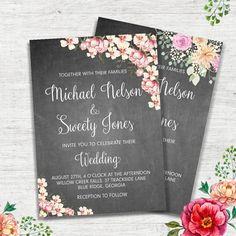Floral Chalkboard Wedding Invitation Flower Wedding Invitation Rustic Wedding Invitation Boho Chic Wedding Invitation Digital Wedding Invite