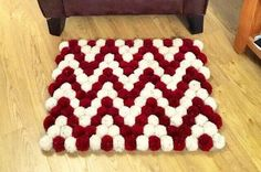 Pompom rug doormat  red and cream chevron design area rug