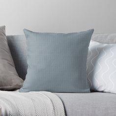 """Silent Night Blue Mini Gingham Check Plaid"" Throw Pillow by podartist | Redbubble"
