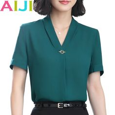 v-neck chiffon shirt women OL Summer fashion formal short sleeve Casual loose blouse ladies office plus size tops green pink v-neck chiffon shirt women OL Summer fashion formal short sleeve Casua – eefury Casual Skirt Outfits, Mode Outfits, Fashion Outfits, Ladies Fashion, Fashion 2018, Fashion Ideas, Summer Outfits, Formal Tops For Women, Formal Shirt Women