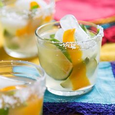 Kick your feet up and chill out with an icy-cool cocktail mixed with rum, vodka, tequila, champagne, or wine. Whether they're infused with fruit or rimmed in salt, these pretty and refreshing cocktails are perfect for summer.
