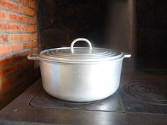 Aluminium casserole 1930's large industrial catering vintage kitchen french vintage decor cast aluminium saucepan by VintageFrenchStore on Etsy
